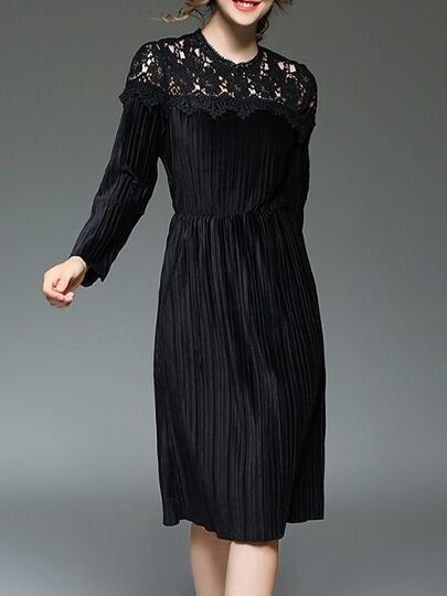 Black Contrast Crochet Hollow Out Velvet Dress