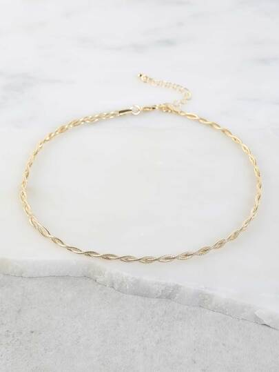 Braided Chain Metallic Necklace GOLD