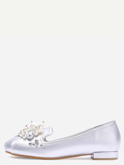 Silver Pearl Embellished PU Flats