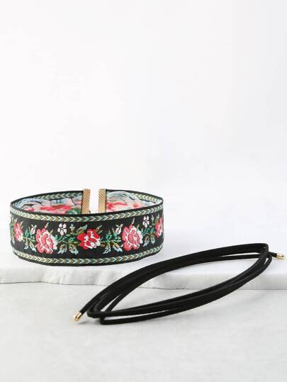 Floral Embroidered Choker Set BLACK MULTI