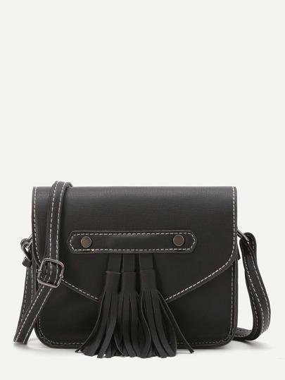 Black Faux Leather Tassel Trim Flap Bag
