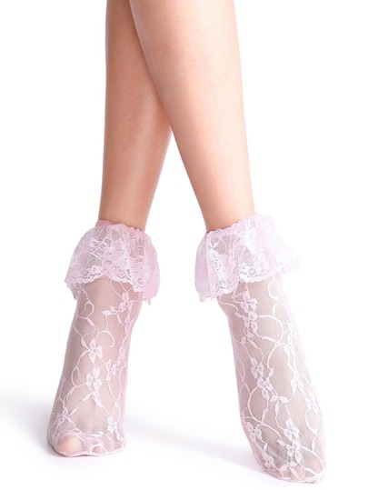 Pink Frilly Floral Lace Socks