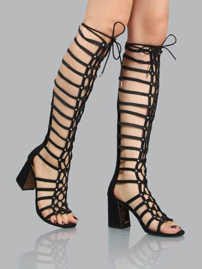 Open Toe Gladiator Chunky Heels BLACK