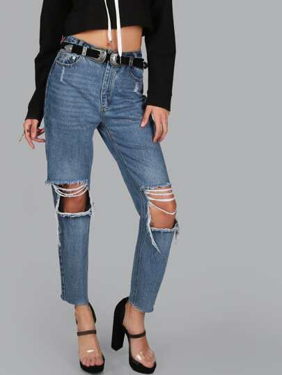 Super Distressed Raw Hem Jeans DENIM