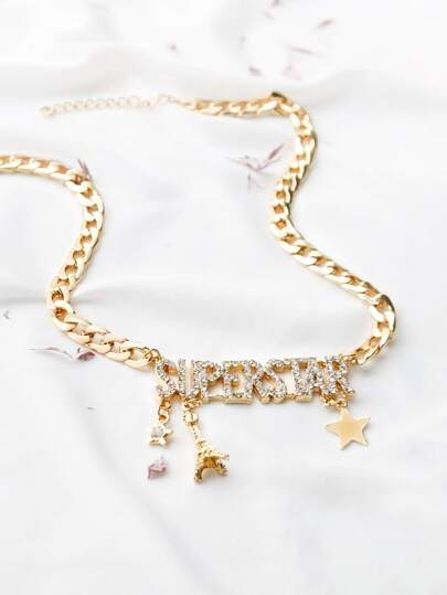 Gold Rhinestone Letter Design Pendant Necklace