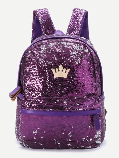 Purple Sequin Overlay Crown Detail Backpack