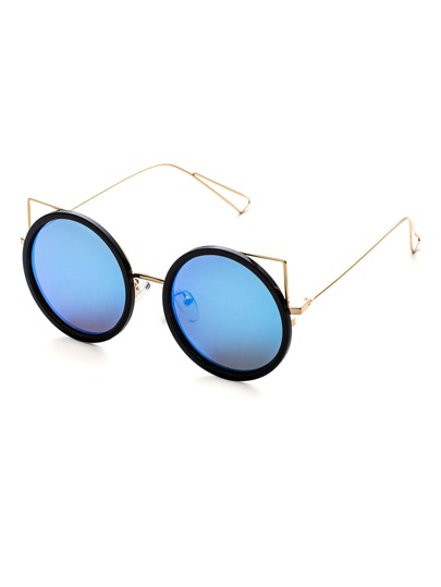 Black And Gold Frame Blue Lens Round Design Sunglasses