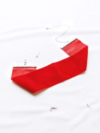 Red Wide Velvet Choker Necklace