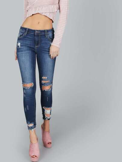 Drestroyed Hem Jeans DENIM