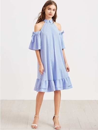 Open Shoulder Striped Tie Sleeve Frill Hem Dress