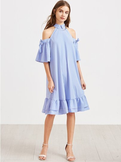 Blue Striped Cold Shoulder Tie Sleeve Ruffle Hem Dress