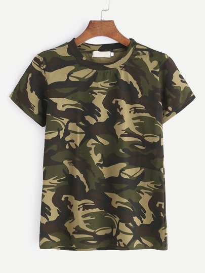 Camo Print Short Sleeve T-shirt