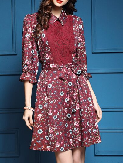 Red Contrast Lace Floral Tie-Waist Dress