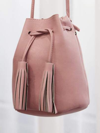 Faux Leather Mini Bucket Bag PINK