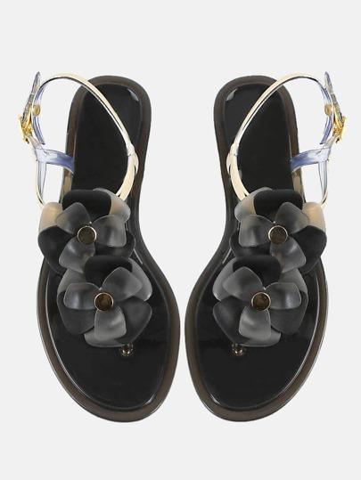 Floral Thong Sandals BLACK