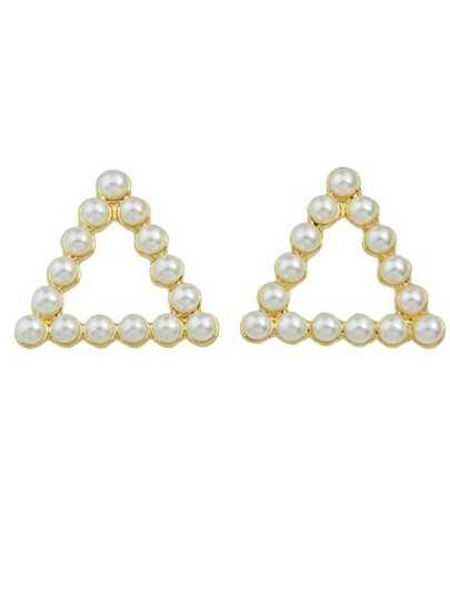 Triangle Small Pearl Round Square Triangle Shape Ear Stud