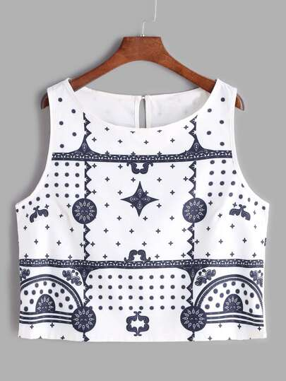 White Printed Keyhole Back Tank Top