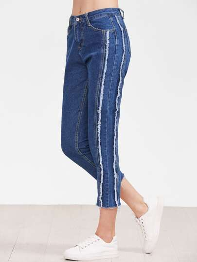Blue Raw Hem Ankle Jeans