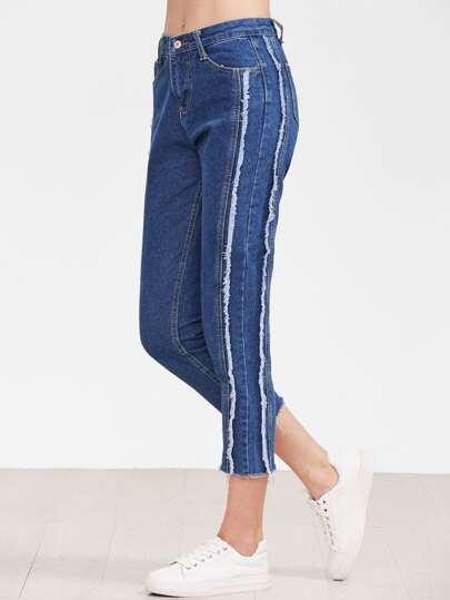 Blau Raw Hem Knöchel Jeans