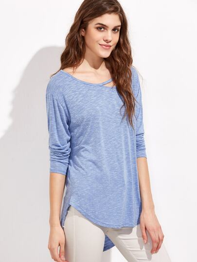 Heather Blue Cutout Strappy Neck High Low T-shirt