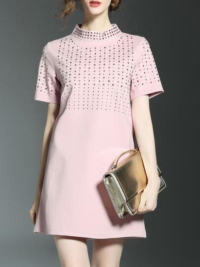 Pink Beading Shift Temperament Dress