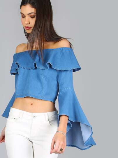 Denim Ruffle Bell Sleeve Zip Back Crop Top
