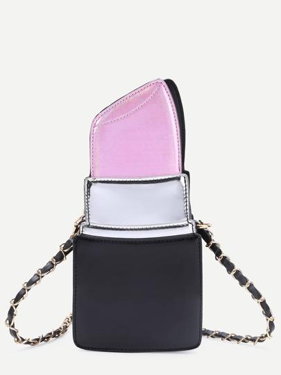 Pink Lipstick Shape PU Chain Bag