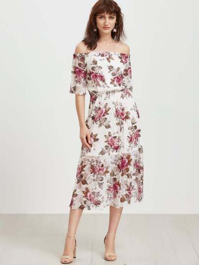 Bardot Rose Print Lace Overlay Dress