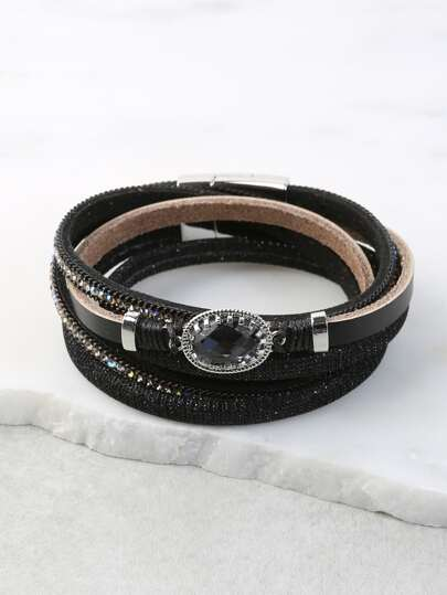 Wrap Faux Rhinestone Bracelet BLACK