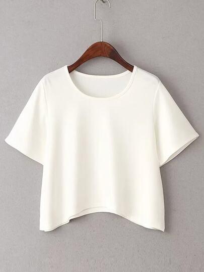 Weißes kurzes Hülsen-gebogenes Saum-T-Shirt