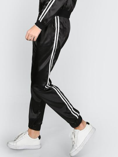 Satin Sport Trainer Joggers BLACK