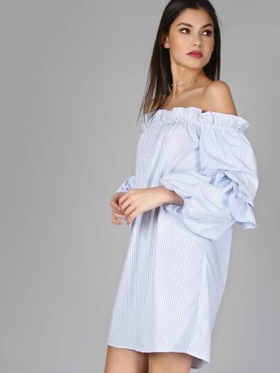 Off The Shoulder Ruffled Dress WHITE MULTI
