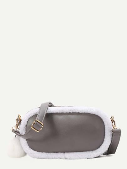 Grey Faux Fur Trim Pom Pom Charm Bag