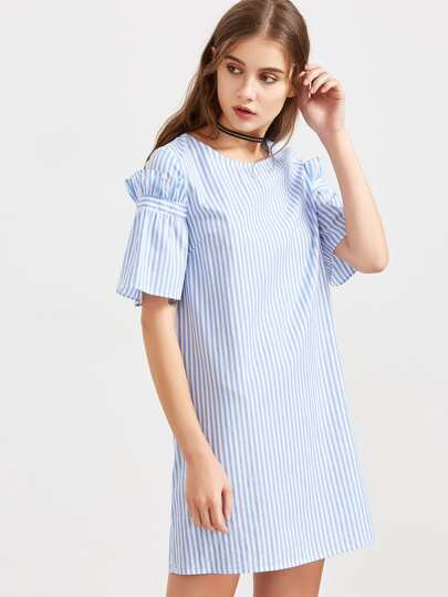Blue Striped Ruffle Sleeve Tunic Dress