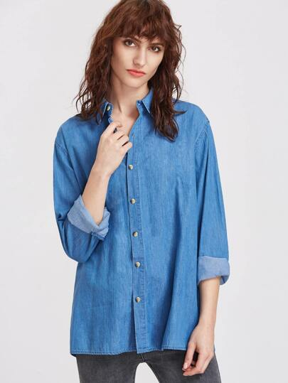 Split Back Button Down Denim Shirt