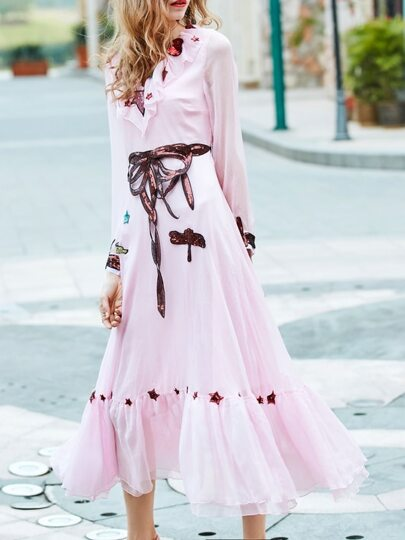 Pink V Neck Tie-Waist Sequined Maxi Dress