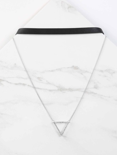 Hollow Triangle Layered Necklace SILVER