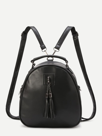 Black Faux Leather Tassel Embellished Mini Dome Backpack