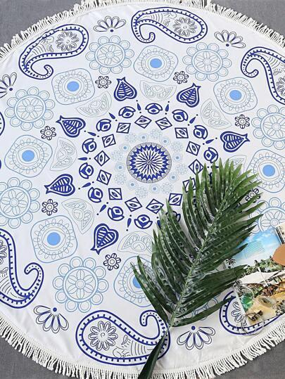white paisley pour fringe trim tour beach blanket