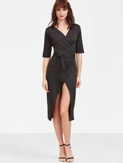 Black V Neck Wrap Dress