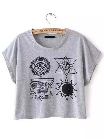 Grey Tribal Print Crop T-shirt