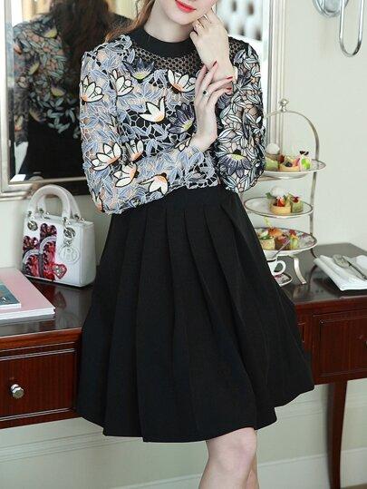 Black Leaves Crochet Hollow Out A-Line Dress