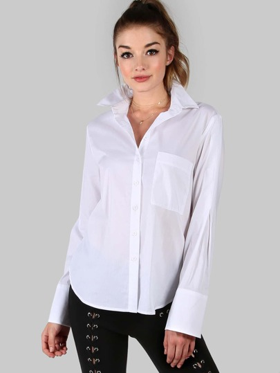 Bianco curvo Hem Pocket camicetta