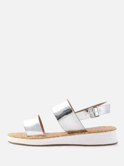 Open Toe Duo Strap Metallic Sandals SILVER