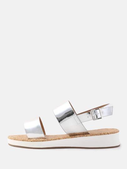 Open Toe Duo Strap Metallic Sandals SILVER