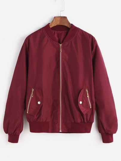 Burgundy Ribbed Trim Shirred Sleeve Bomber Jacket