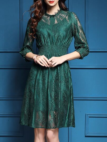 Green Elastic-Waist Mesh Lace Dress