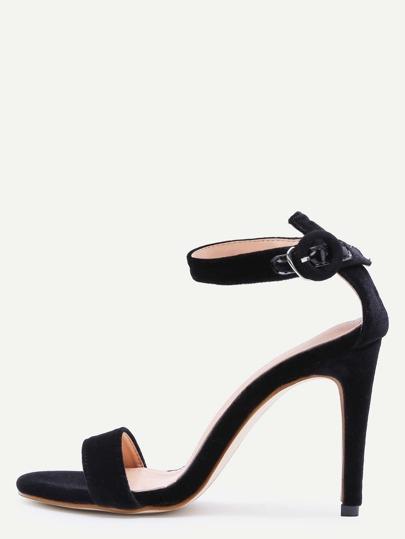 Sandales à talons hauts noir à bretelle violet