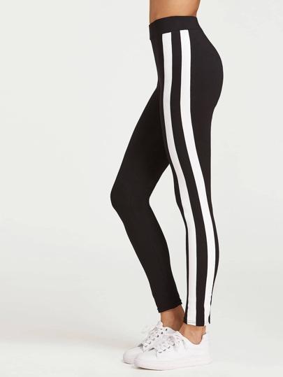 Leggings Seitenstreifen - schwarz