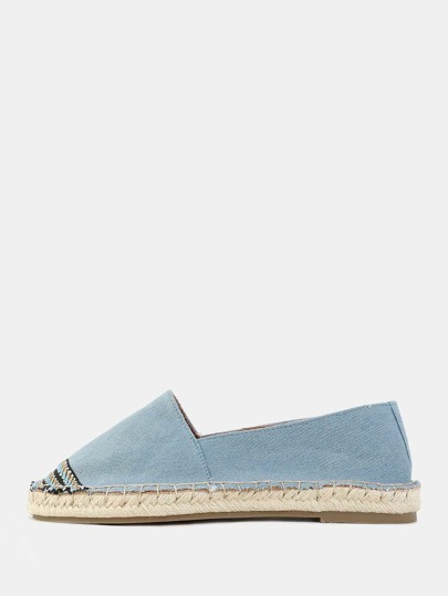 Denim Embroidered Espadrille Flats BLUE DENIM